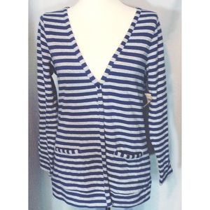 Coldwater Creek Blue & Gray Soft Stripe Cardigan